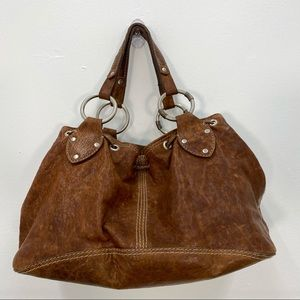 Ruehl No.925 Brown Leather Drawstring Shoulder Bag